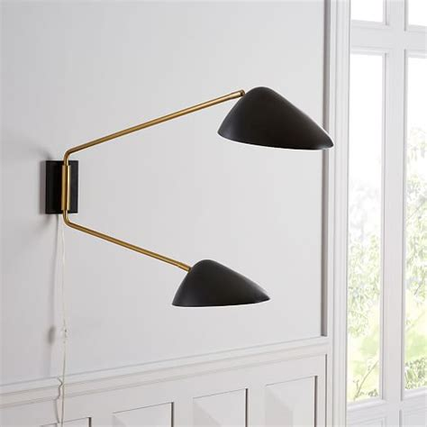 curvilinear mid century sconce double black west elm
