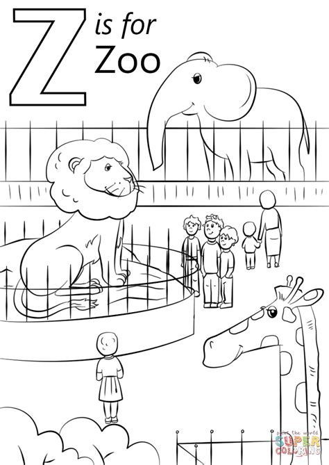 letter    zoo coloring page  printable
