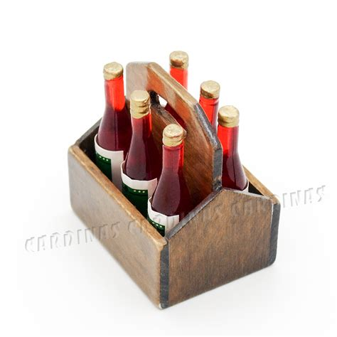 Odoria 112 Miniature Wooden Rack With 6pcs Wine Bottles