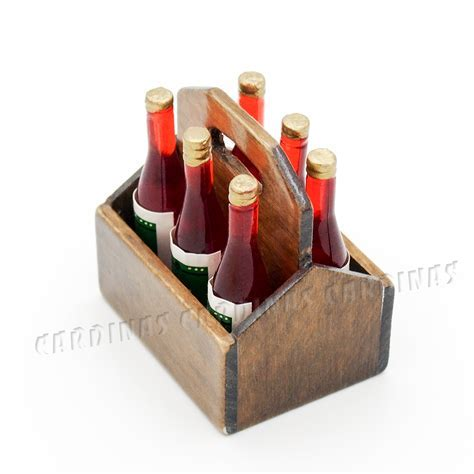 Odoria 1:12 Miniature Wooden Rack with 6PCS Wine Bottles