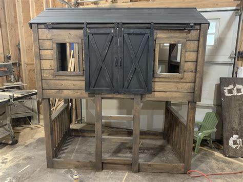 kids cabin bed  barn doors ana white