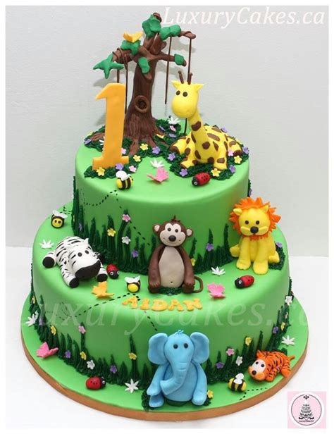 Cute Jungle Animal Cake  Party Ideas  Pinterest Jungle