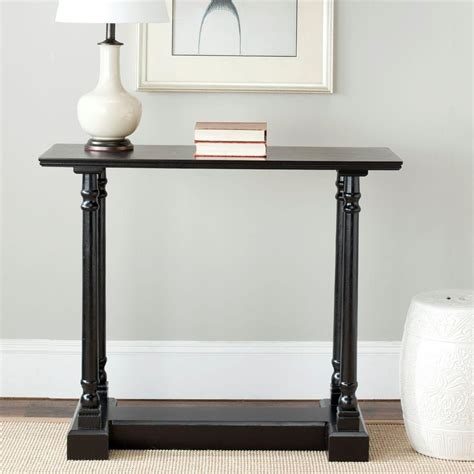 distressed black console table southern enterprises black and distressed silver glass top