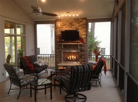 screened porch with fireplace this screened porch with outdoor fireplace is designed for