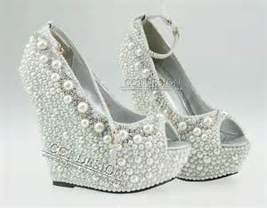 ivory wedge wedding shoes 2014 new fashion wedding wedges formal wedding shoes white ivory pearl wedding wedge high heel
