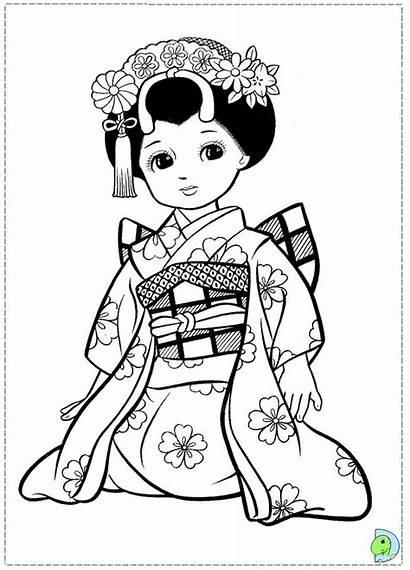 Coloring Japanese Pages Geisha Japan Colouring Doll
