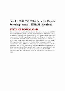 Suzuki Gsxr 750 2004 Service Repair Workshop Manual