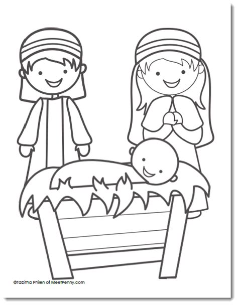 free nativity coloring page meet 155 | Nativity Coloring Page