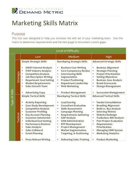 16241 skill exle for resume 2 marketing skills matrix