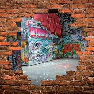 Mur Trompe L Oeil : sticker mural trompe l il mur de pierre graffitis tag stickers muraux deco ~ Melissatoandfro.com Idées de Décoration