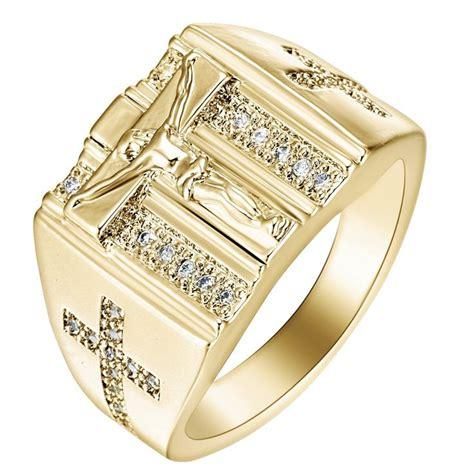 gold rings jesus design cross carved  menwomen anillos