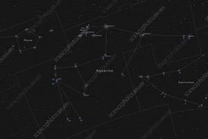 Aquarius Constellation  Labeled Diagram - Stock Image C033  4883