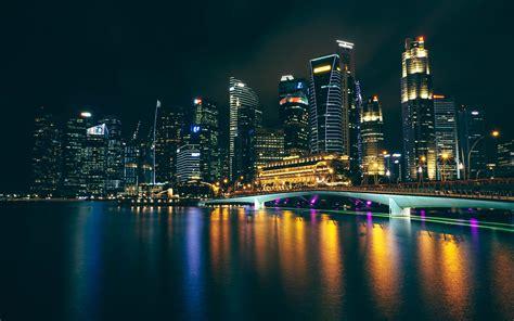 wallpaper city night buildings