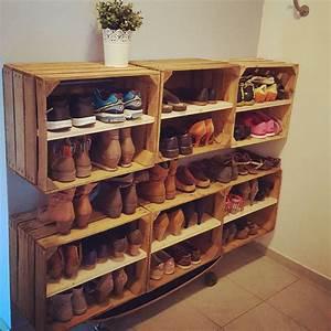 Schuhregal Selber Machen : schuhregal aus apfelkisten shoes schuhregal weinkisten vintage diy loveit ~ Watch28wear.com Haus und Dekorationen