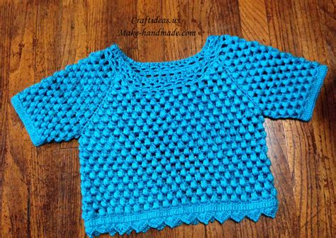 crochet baby pullover  popcorn stitches craft ideas