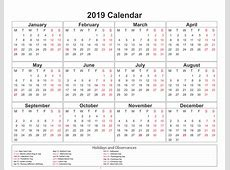 Get Yearly Calendar 2019 Template with SA Holidays