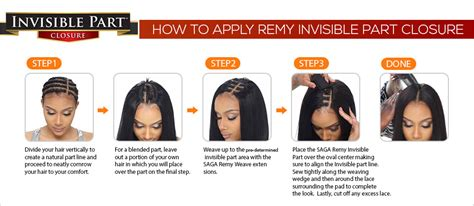 Remy Human Hair Weave Saga Invisible Part Closure