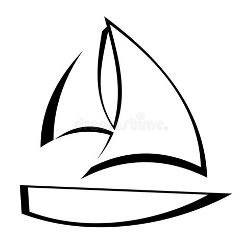 Sailboat Outline Vector Free by Sailboat Outline Stock Vector Illustration Of