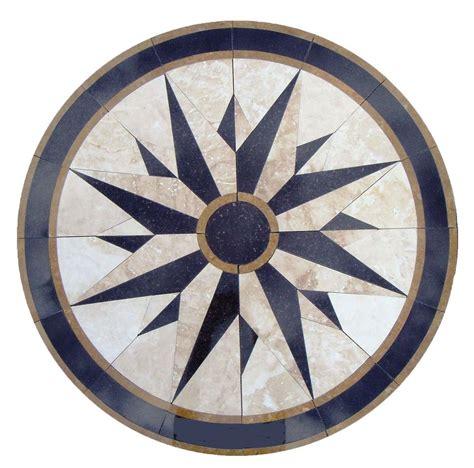 floor medallion marble mosaic nautical compass travertine