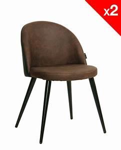 Chaise vintage metal et microfibre lot de 2 giza for Deco cuisine avec chaise salle a manger marron