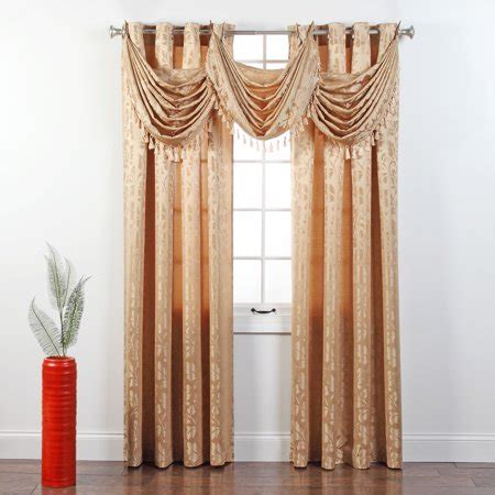 valance curtains walmart jacquard grommet waterfall valance with tassel