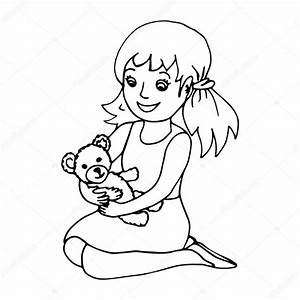 Little girl holding teddy bear — Stock Vector © elinorka ...