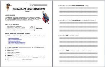 elements superhero project editable  tangstar science