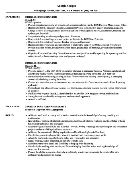 Program Coordinator Resume by Program Coordinator Resume Sles Velvet