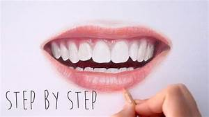 Step by Step | How to draw color realistic lips and teeth ...