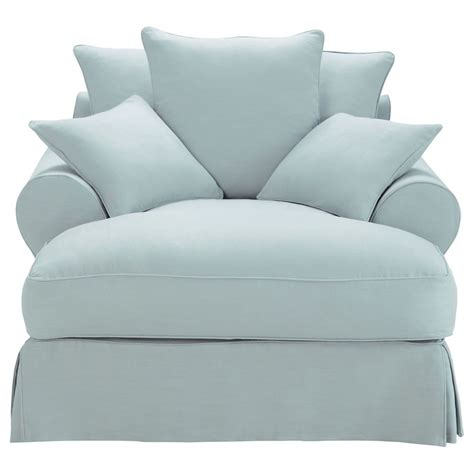 chaise longue in blue grey linen bastide bastide
