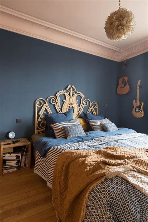 chambre bleue ethnique chic