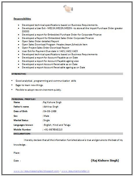 mba resume format for freshers doc over 10000 cv and resume sles with free download cv format for sap consultant