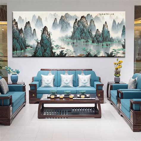 The point is, you don't need to break the bank to come up with a great wall art to brighten up your living space. Large Wall Art Canvas Prints Chinese Mountain and River painting Picture Hall Living Room Decor ...