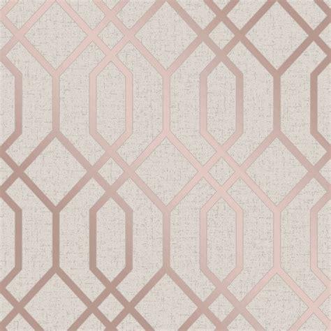 fine decor quartz trellis rose gold cream geometric