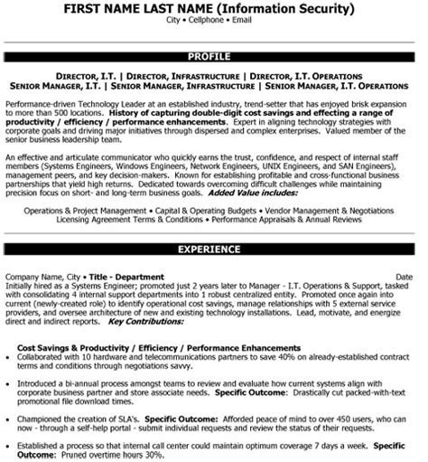 director infrastructure resume sle template