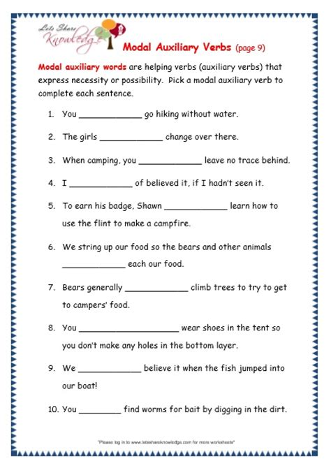 modals worksheets for grade 6 with answers homeshealth info