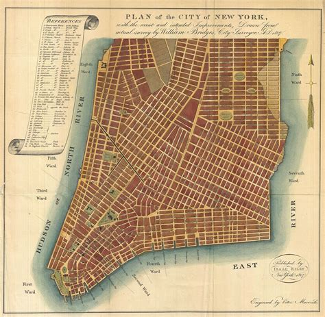 NYC Street Map of New York City Bridge