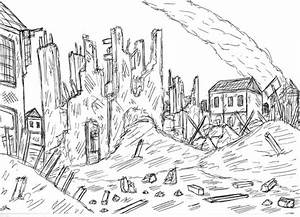 Destroyed City Drawing Coloring Pages