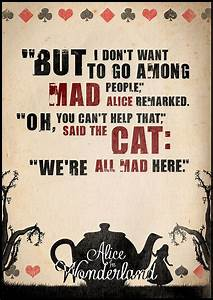 Alice in Wonderland Quote Poster Typographic Print by ...