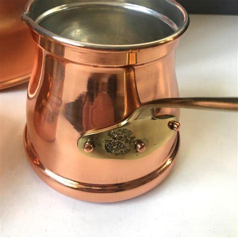 portugal copral copper basin  pans  piece set chairish