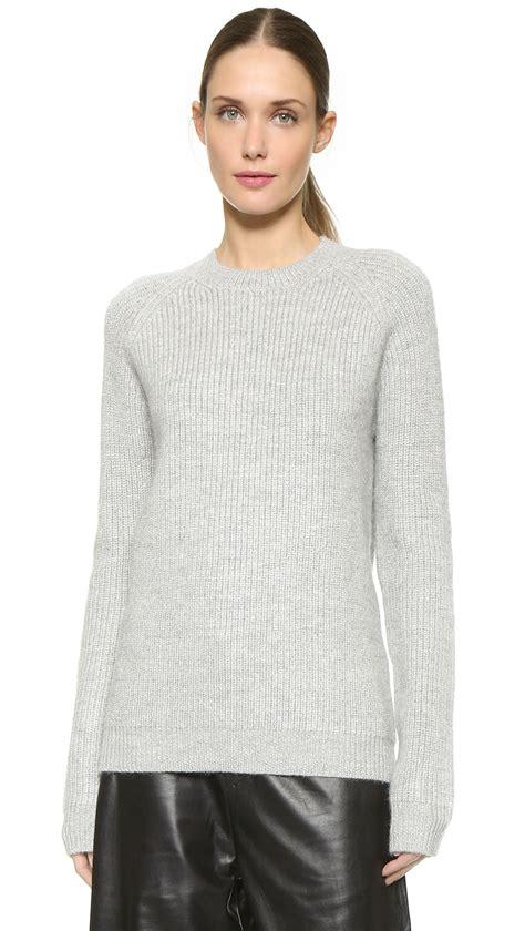 light grey wool lyst edun chunky wool sweater light grey in gray