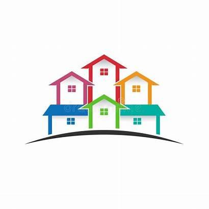 Houses Estate Clip Gruppo Case Neighborhood Horizon