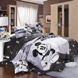 mickey and minnie mouse king queen adults cartoon bedding set 4 pcs cotton bed sheet t4 grey