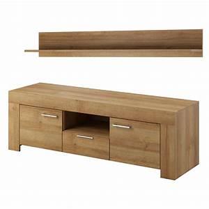 Meuble Cache Tv : meuble tv et tag re en panneaux de particules ch ne ~ Premium-room.com Idées de Décoration