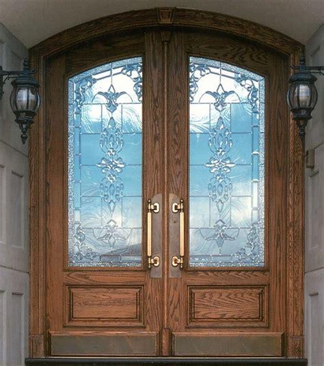 double arc  panel custom glass rustic front doors