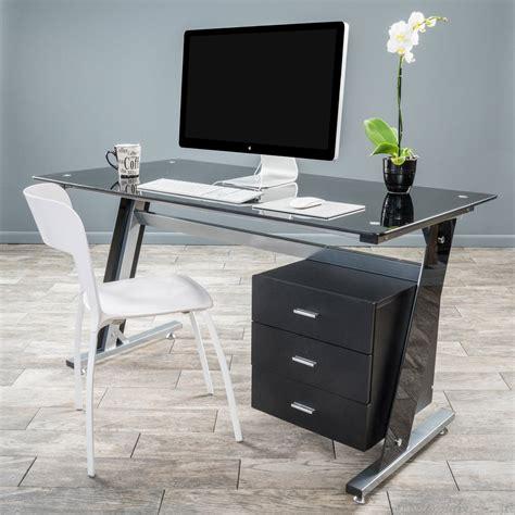 black computer desk with drawers genesis black glass computer desk cabinet drawers
