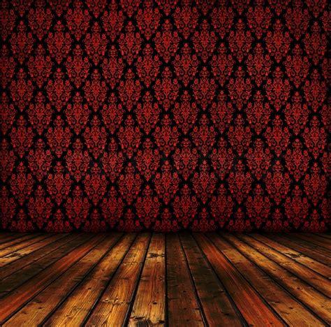 vintage red wallpapers  wooden floor stock photo