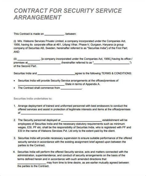 security contract samples  templates   word