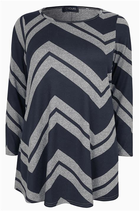 Navy Chevron Swing Top Sizes 16 To 36 Yours Clothing