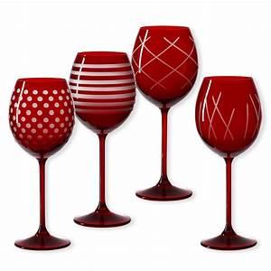 Verre A Vin : verres vin pied de couleur rouge verrerie design bruno evrard ~ Teatrodelosmanantiales.com Idées de Décoration